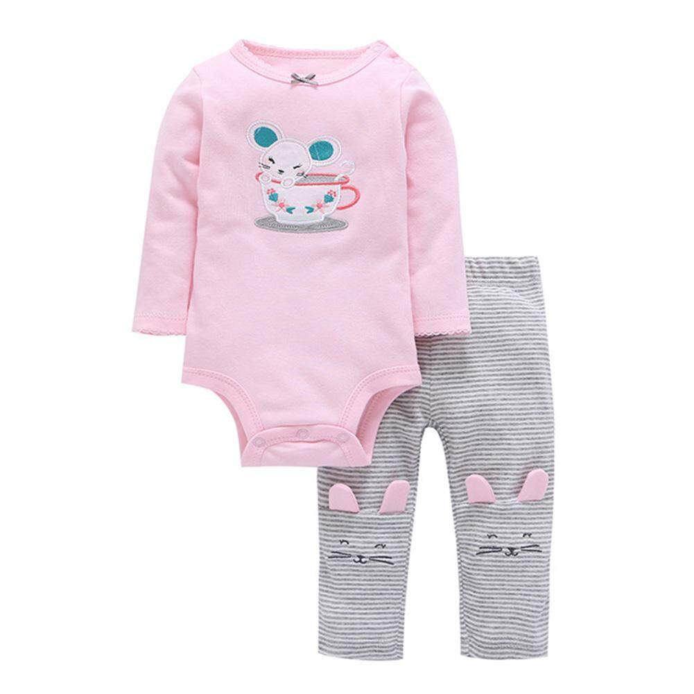 Kidlove 2 Pcs/set Bayi Baru Lahir Lembut Katun Jumpsuit Pakaian Set Lengan Panjang Atasan