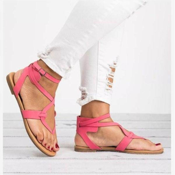 WYY8 Summer New Fine with Flat Feet Large Size Female Sandals EU35-EU43 Solid Color Flat Shoes Comfortable Casual Toe Shoes Lacing Women's Shoes - intl