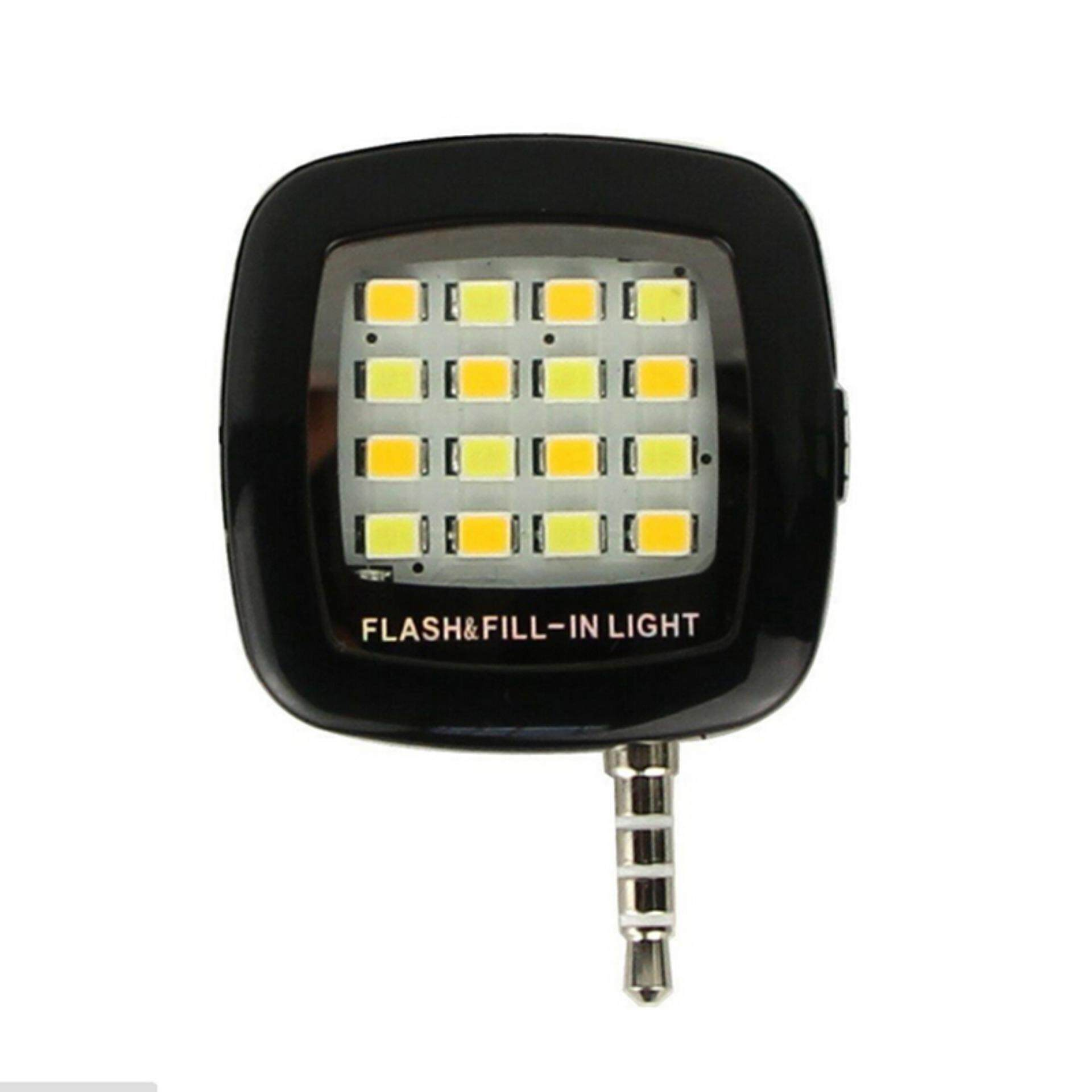 3.5mm Jack Smart Selfie 16 LED Camera Flash Light For IOS Android iPhone 5s 6 6+ Black