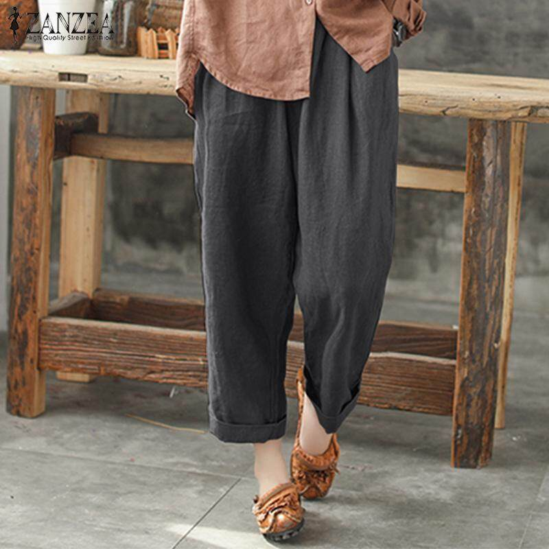 ZANZEA Women Plus Size Palazzo Trousers Pantalon Loose Retro Wide Leg Pants