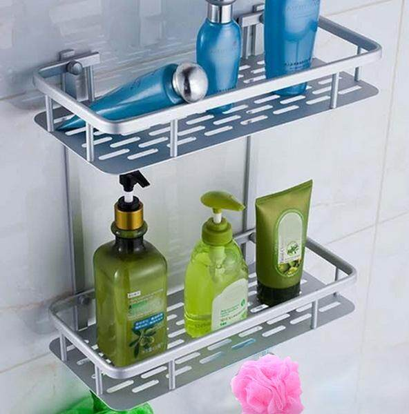 Rectangle Shape Bathroom Shower Wall Mounted Dual Layer Space Aluminum Soap Shampoo Facial Cleanser Lotion Bottle Storage Shelf Holder Stand Rack With Hooks By Elek.