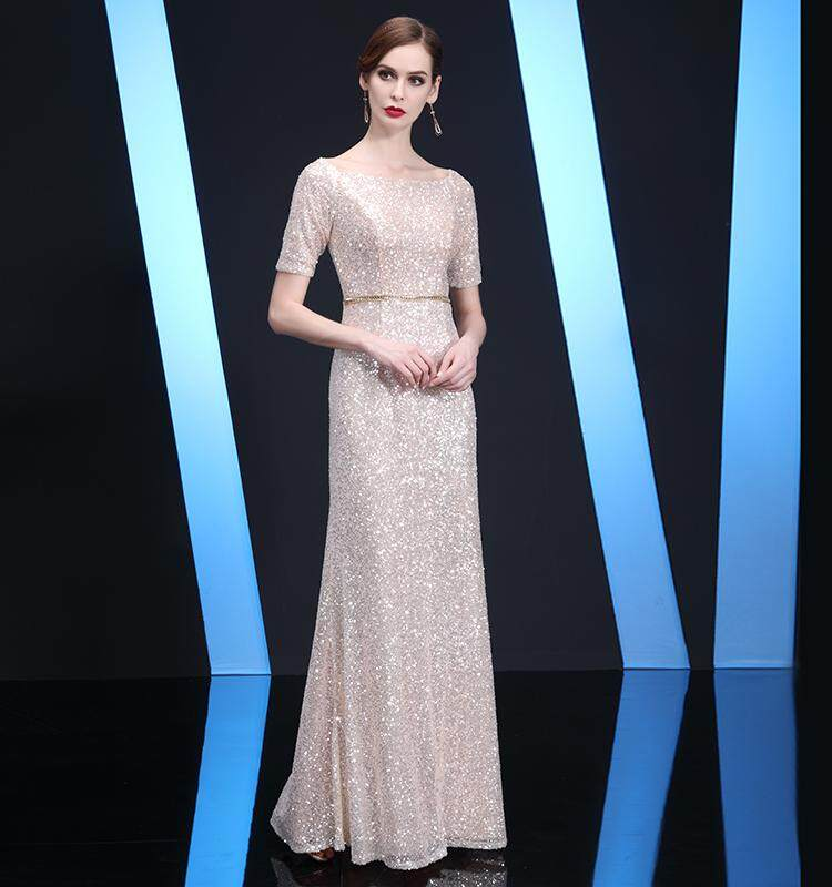 3be5330cf8e Champagne Color Nobility Sequin Annual General Meeting Banquet Late Formal  dress for women women 2018 New