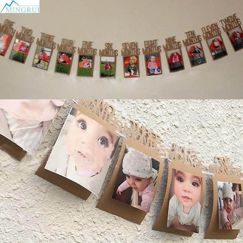 1-12Months 1st Birthday Photo Frame Shower Bunting Banner Party Supply With Rope