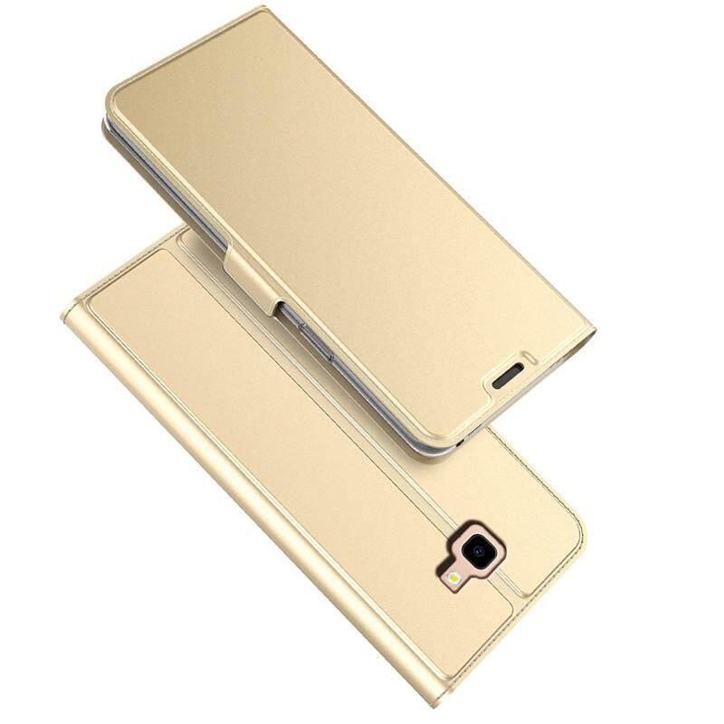 Sempurna untuk Samsung Galaxy J4 Plus Case PU Leather Flip Stand Tempat Dompet Seluruh Badan Penutup Saku dengan Tempat Kartu dan Magnet Buckle