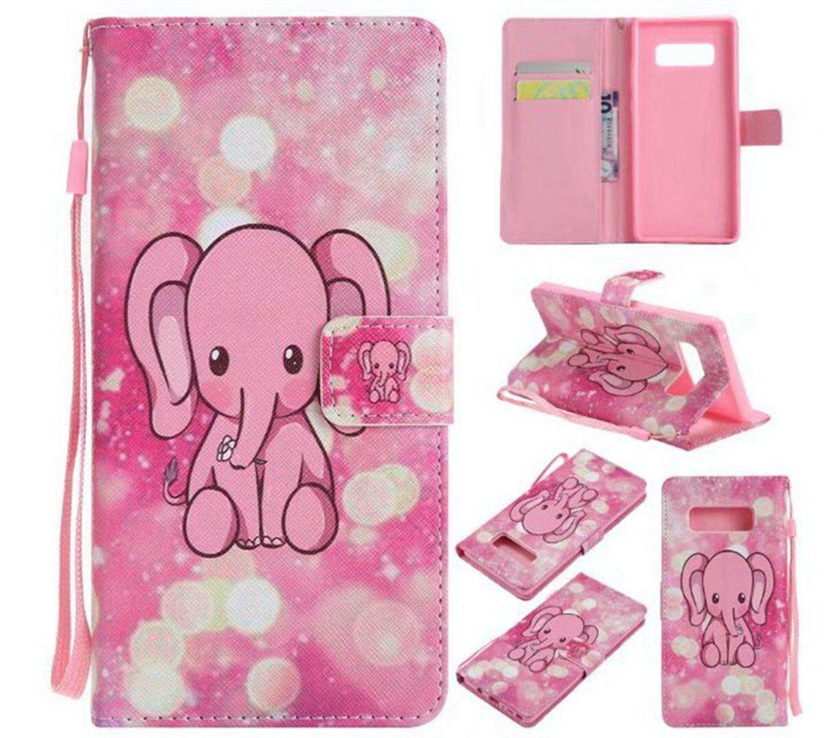 Pink Elephant Leather Flip Wallet Stand Case Cover For Samsung Galaxy Note 8