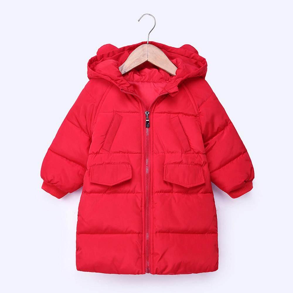 2d544fefd Free shipping Dotsonshop Baby Girls Boys Kid Solid Hooded Down Jacket Winter  Warm Parka Outwear Long