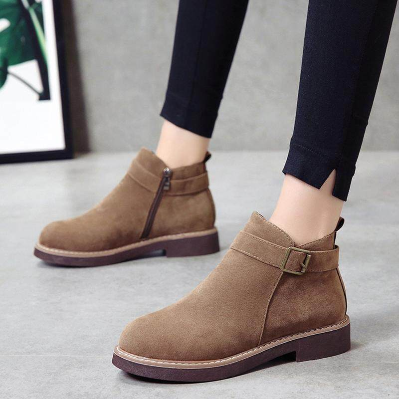 Short Boots women 2018 New Style Autumn And Winter Dull Polish Boots Belt Buckle Chelsea Boots