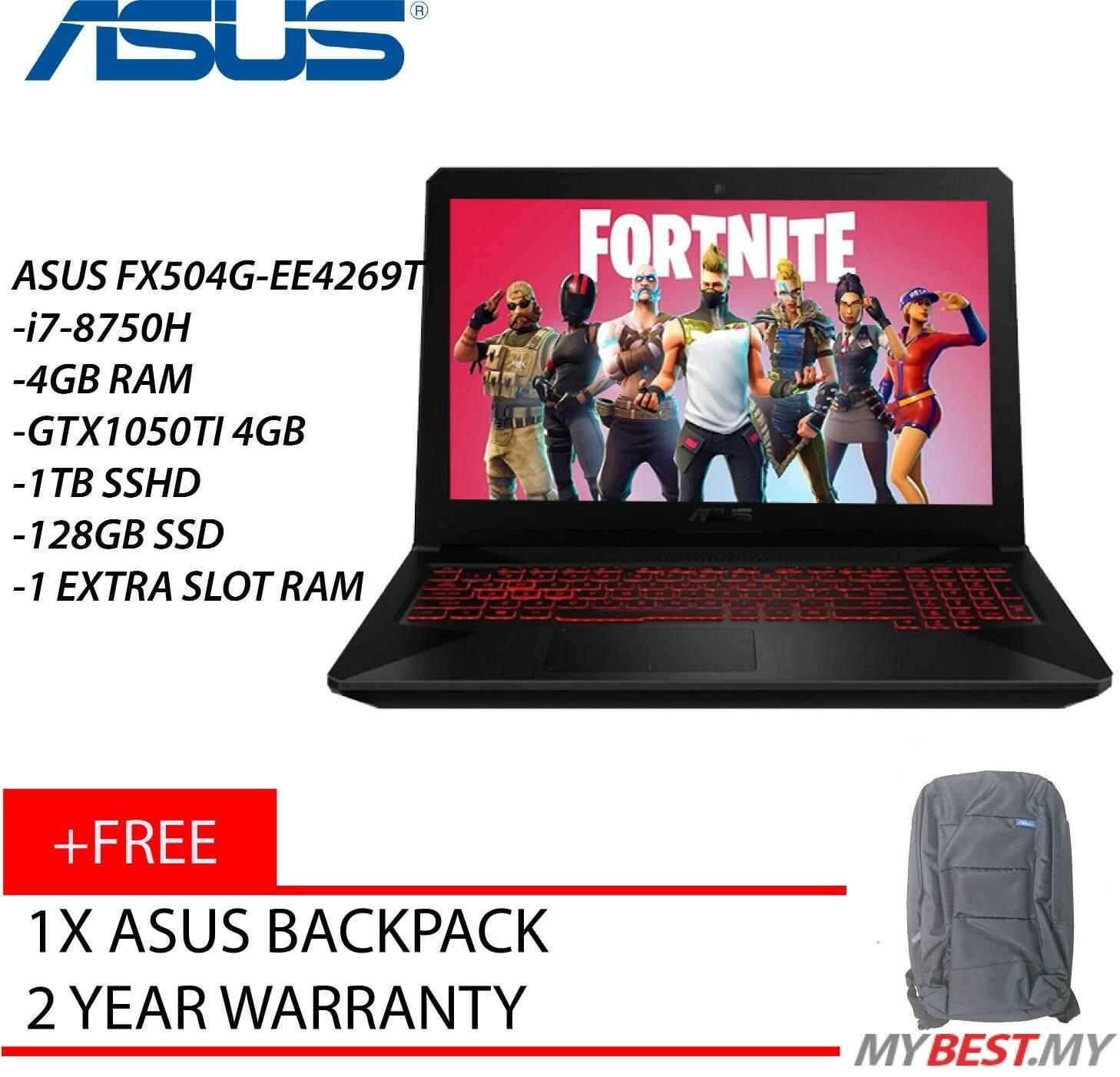 Asus TUF FX504G-EE4269T 15.6 FHD Gaming Laptop Premium Steel (I7-8750H, 4GB, 1TB+128GB, GTX1050Ti 4GB, W10) Malaysia