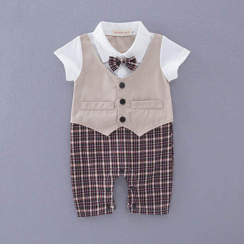 9951f9d6feb 1 PCS Summer Cotton Baby Boys Gentleman Outfits Romper Bow Tie  Short-Sleeves Infant Jumpsuit Party Costume Wedding Bodysuits(3-18Months)