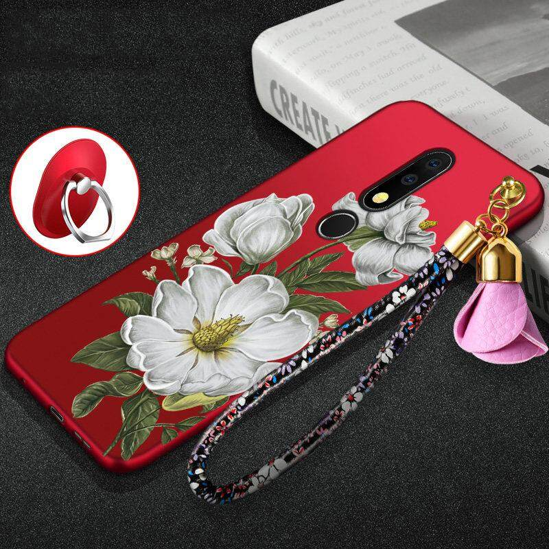 Luxury 3D Flowers Back Cover For Nokia X6 / Nokia 6.1 Plus Case Silicone Soft Case Shell Cell Mobile Phone Cases