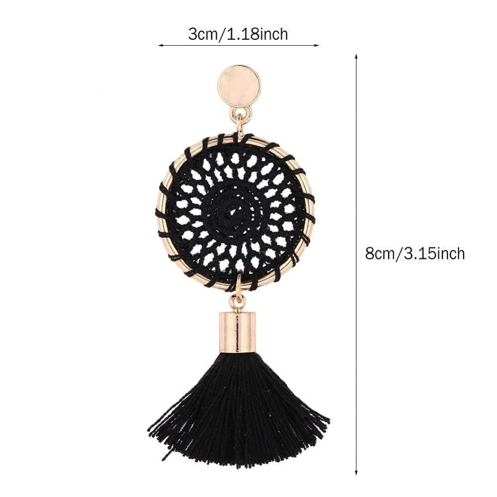 ... 5 Warna Panjang Rumbai Anting-anting Gantung Perempuan Benang Katun Rajutan Tangan Anting Bulat Perhiasan