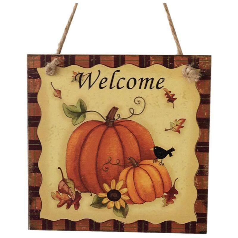Kayu Plakat Menggantung Tanda Thanksgiving Gantungan Pintu Dekorasi Dinding Dekorasi Pesta Stan Foto Alat Peraga (Labu & Selamat Datang)-Intl