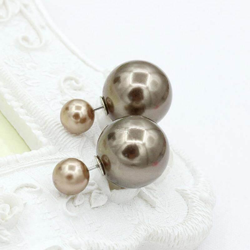 Gracekarin Online Perhiasan Fashion Dua Mutiara Wanita Anting-Anting Warna Permen Telinga Anting Stud Pasangan