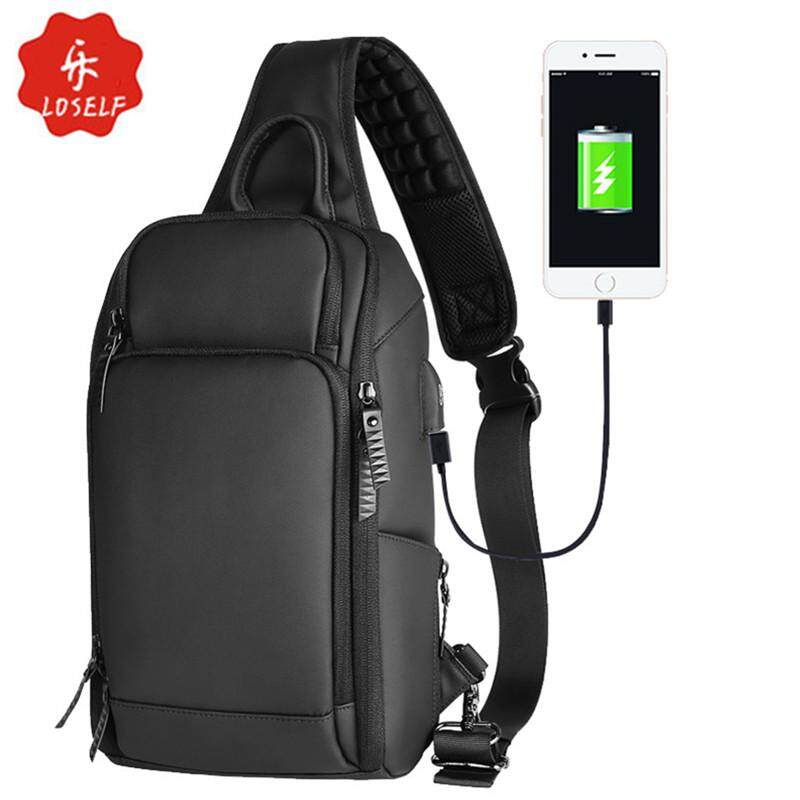 ef2c82e3967c LOSELF USB Waterproof Nylon 7.9-Inch Tablet PC Chest Bag Causal Crossbody  Bag Fashion Business