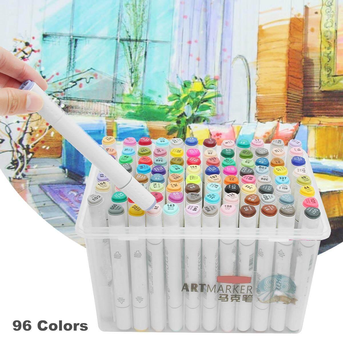 Fashion 96 Pcs Warna-warni Artis Sketsa Marker Berbasis Minyak Seni Ujung Ganda Papan Menggambar