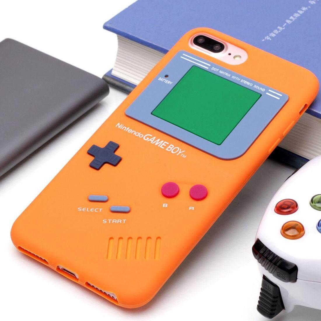 Untuk iPhone 8 PLUS dan 7 Plus Retro 3D Mesin Permainan Desain Lembut Silikon Pelindung Case (Oranye) -Internasional