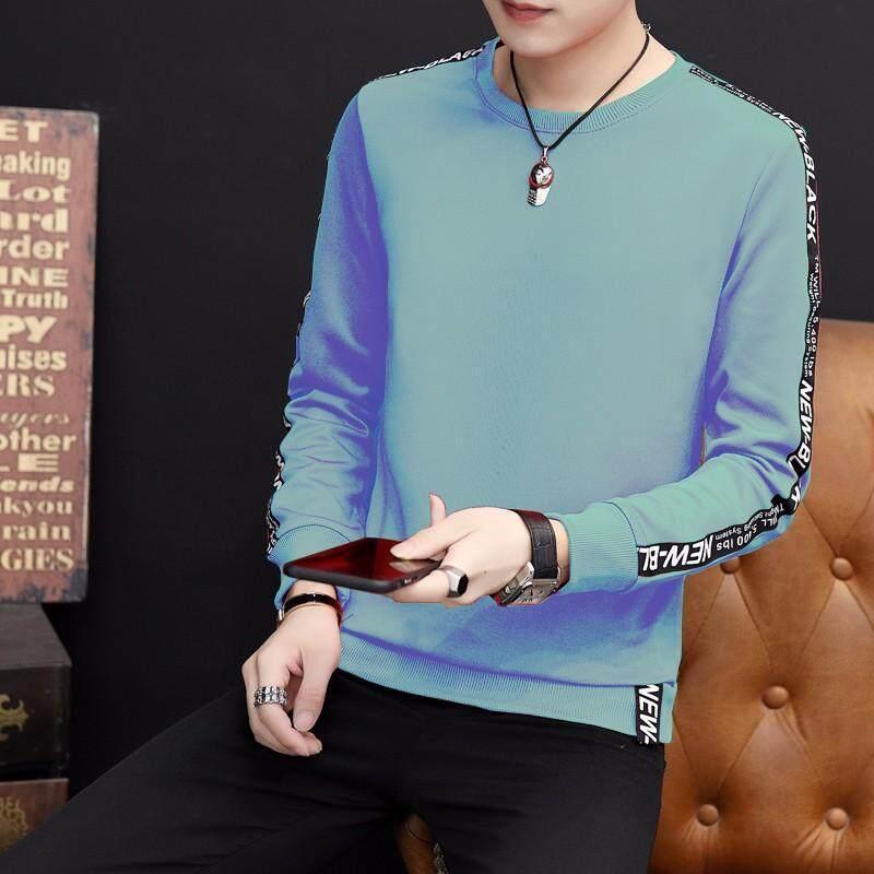 Pria Lengan Panjang T-shirt Korea Leher Bulat Sweater Pelajar Musim Gugur Bottoming Kemeja,