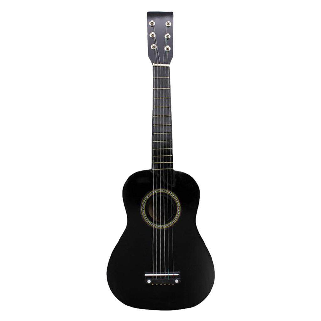 Miracle Shining Mini 23 inch Wooden 6 Strings Acoustic Guitar Musical Instrument Gift Black - intl