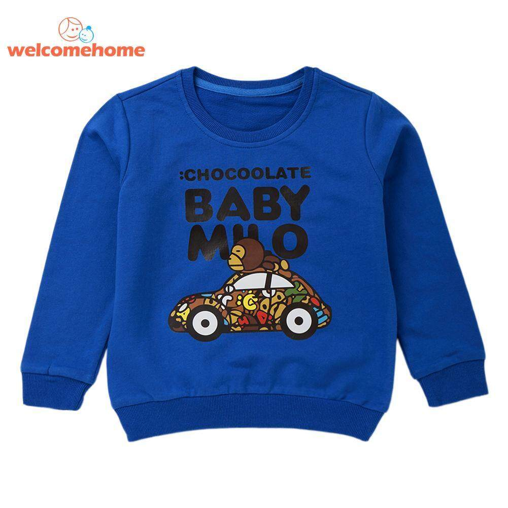 Cotton T-Shirt Boys Cartoon Car Letters Sweatshirt O-Neck Casual Clothes By Welcomehome.