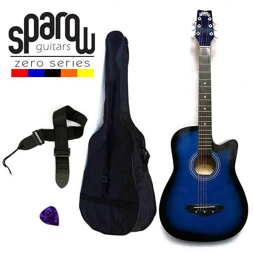 Sparow SPZero Beginners Acoustic Folk Cutaway Kapok Style Guitar 38 Inch Blueburst Free Bag