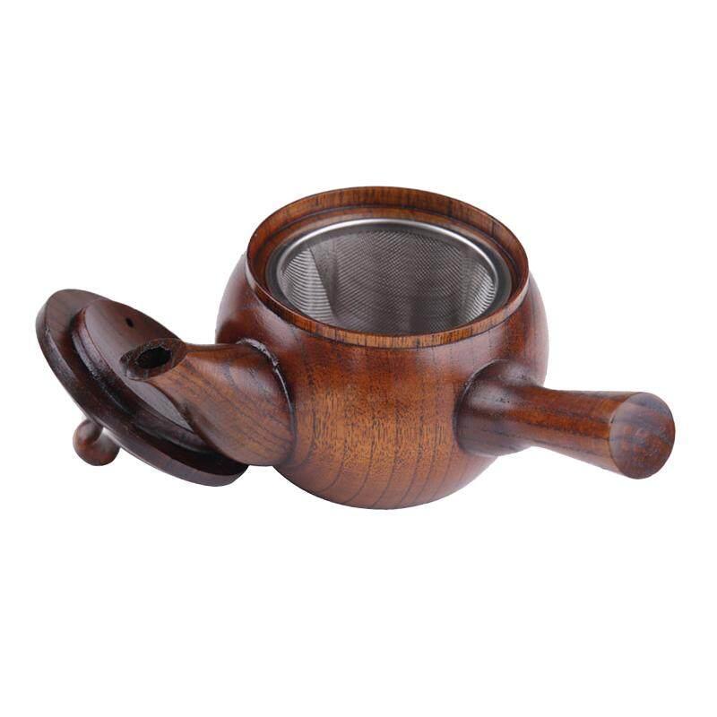BolehDeals Mini Japanese Style Wood Wooden Tea Kettle Small Teapot Kung fu Tea Set