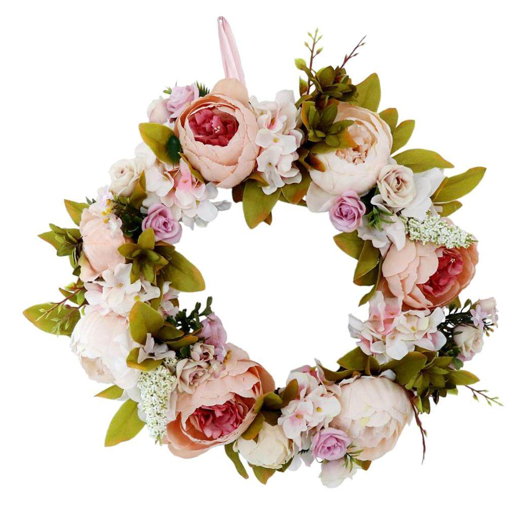 BolehDeals Artificial Rattan Flower Wreath Front Door Wreath Wedding Venue Home Decor