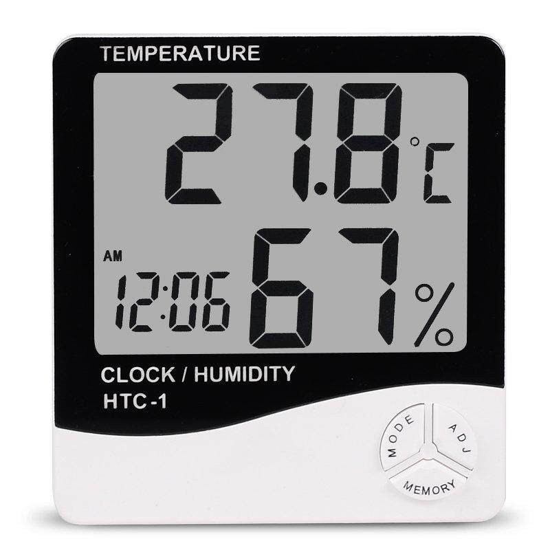 Ishowmall LCD Digital Thermometer Indoor/Outdoor Temperature Humidity Meter Alarm Clock