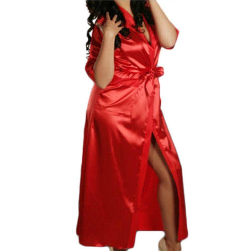 9fbf4d6bfe Lingerie Sleep Robes Women Sexy Satin Long Silk Bath Robe Babydoll Lingerie  Nightdress Underwear