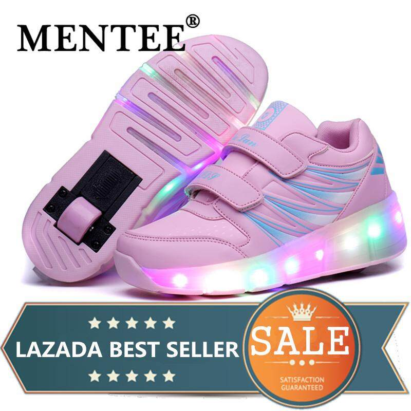 4f847e7acc4a MENTEE Size 27-43 Kids Girls Boys LED Light Up Double Wheels Roller Shoes  Skates
