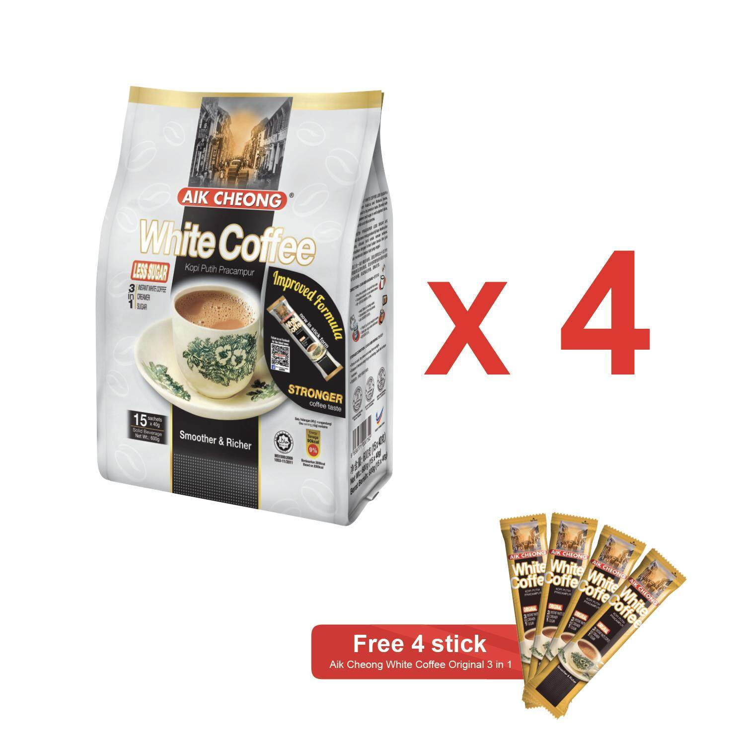 Aik Cheong White Coffee Less Sugar 600g x 4