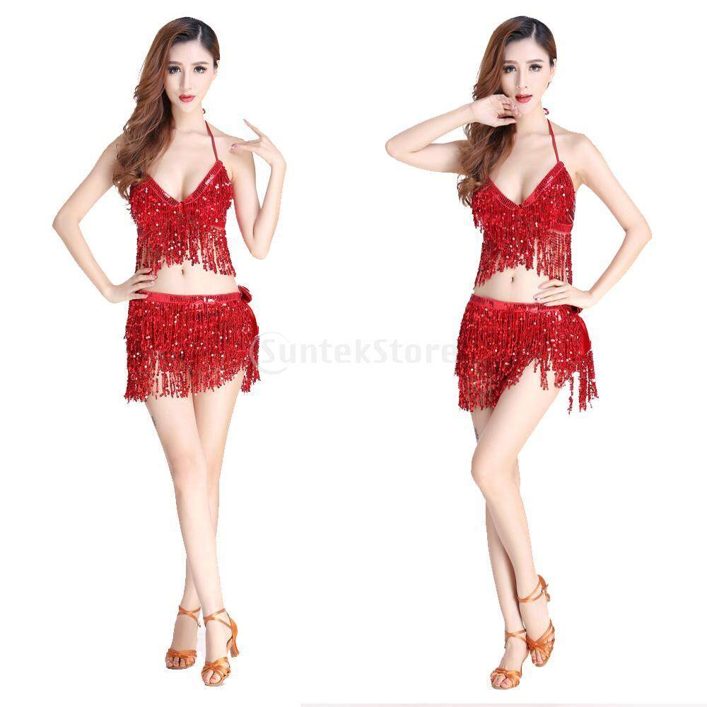 Magideal Fashion Belly Dance Waist Chain Hip Skirt Scarf With Sequins Tassel Red By Magideal.