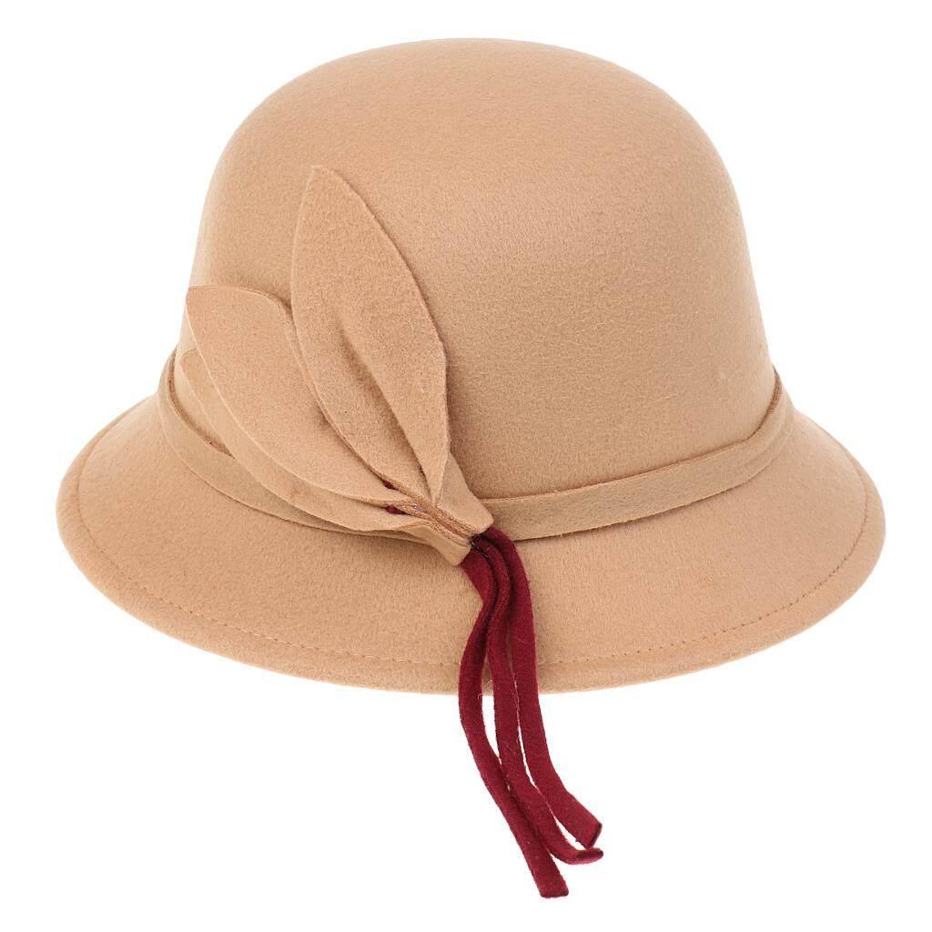 Magideal Wanita Klasik Ember Topi Daun Tali Dekor Lebar Pinggiran Hangat Krem-Internasional