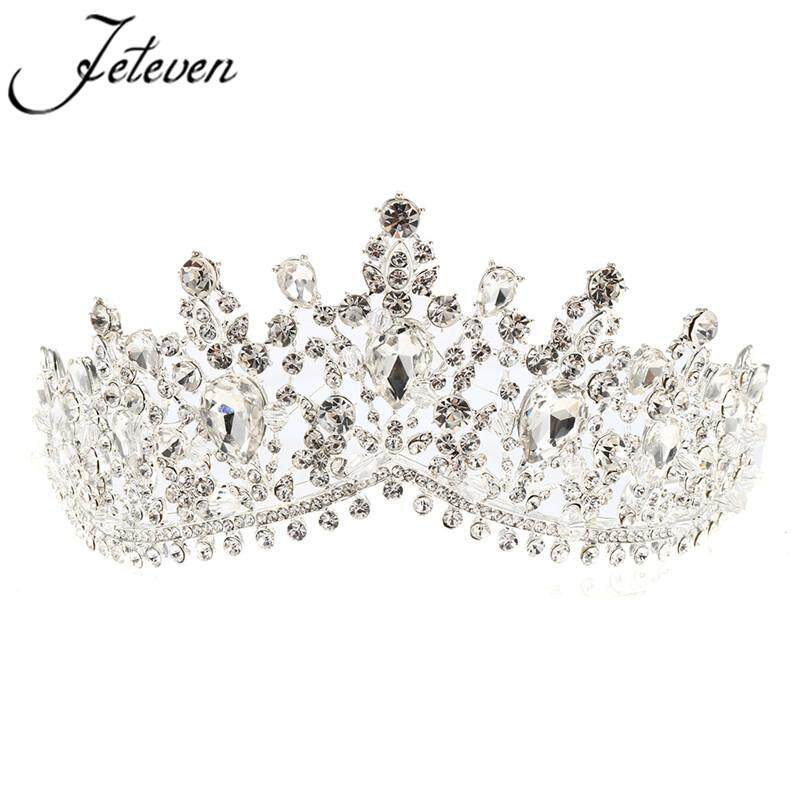 7cm High Large Adult Drip Crystal Wedding Bridal Party Pageant Prom Tiara Crown By Glimmer.