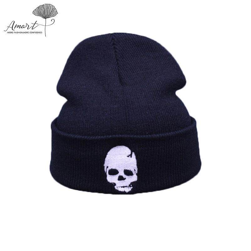 Amart Fashion Musim Dingin Rajutan Topi Hangat Tengkorak Pola Harian Topi Kupluk Beanie Cap Kolam Topi
