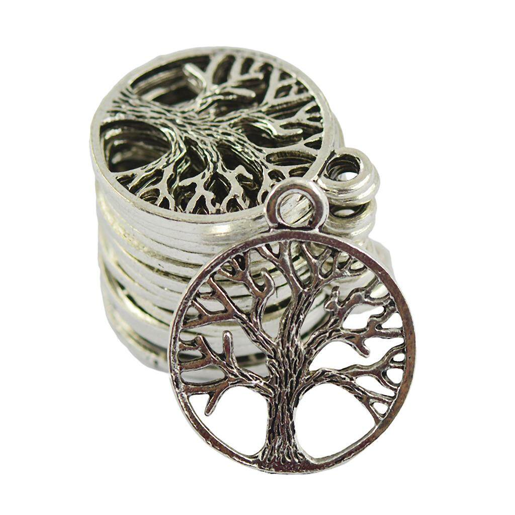 GuangquanStrade 30Pcs Tibetan Silver Hollow Out Tree of Life Charm Jewelry Pendant Makings