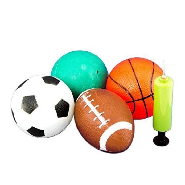 Tytroy 4 Piece 5″ Sport Balls with 1 Pump (Basketball, Soccer Ball, Football, Playground/Kickball) – intl