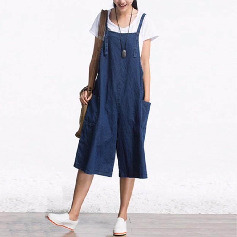 028392de96 ZANZEA Rompers Womens Jumpsuit Summer Autumn Sleeveless Fashion Wide Leg  Pants Denim Calf Length Vintage Overalls