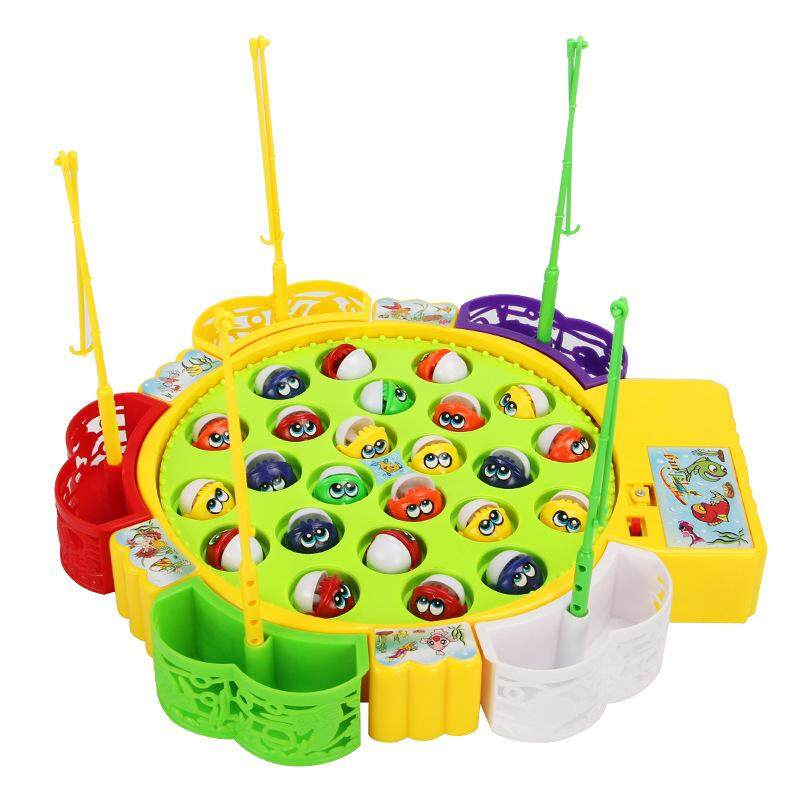 Big Size Musical Fishing Games Early Learning Early Development Educational Colourful Rotating Baby Toys (6949 中号钓鱼24条鱼) By Fuyutrade.