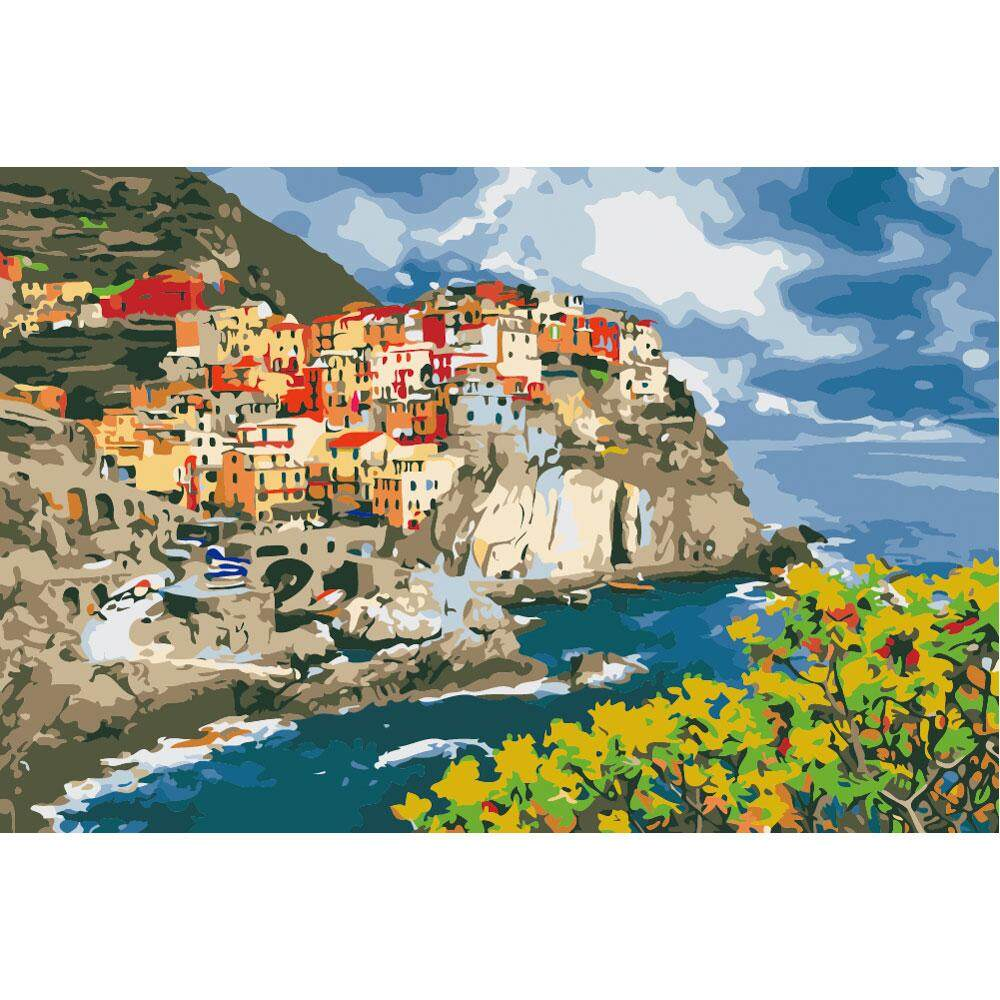 With Frame - New Arrival - Diy Paint By Numbers Kits Painting Home Decor - Cinque Terre Italy - intl
