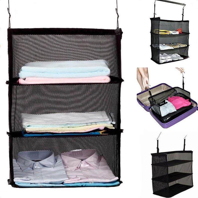 Portable 3 Layers Travel Storage Bag Hook Hanging Clothes Shoes Rack Holder