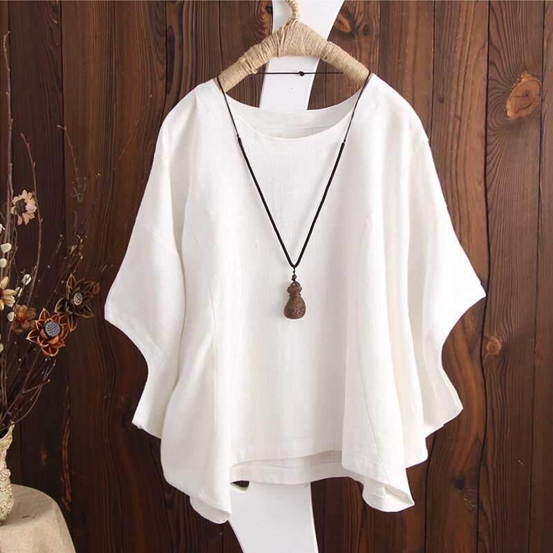ZANZEA Women Casual Loose Cotton Blouse Tee T Shirt Basic Plus Size Top