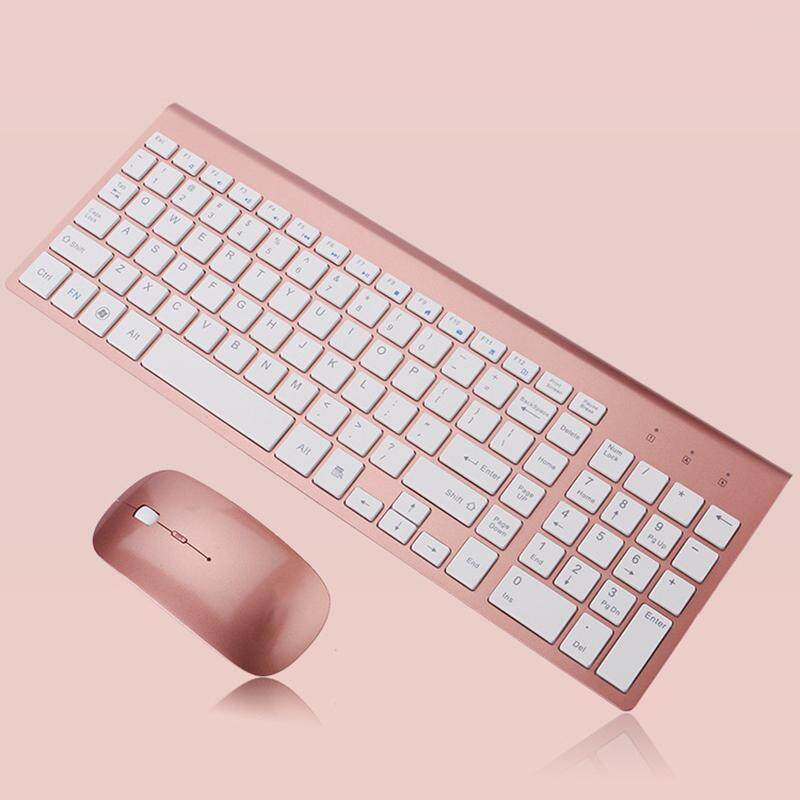 2.4Ghz Ultra-Thin Wireless Keyboard And Mouse Combo With USB Receiver Mouse Keyboard set For Apple PC WindowsXP/7/8/10(rose gold) - intl