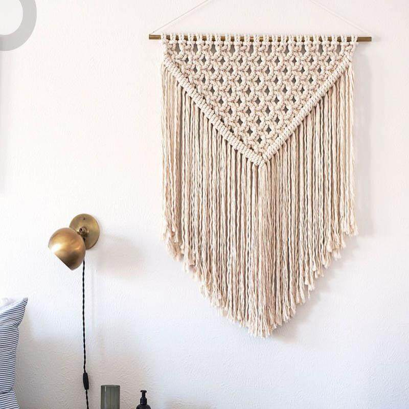 Bohemian Decorative Dream Catcher Handmade Cotton Rope Knitting Tapestry Wall Hanging Tapisserie Home Decoration Craft Wedding Gift 40x60cm - intl