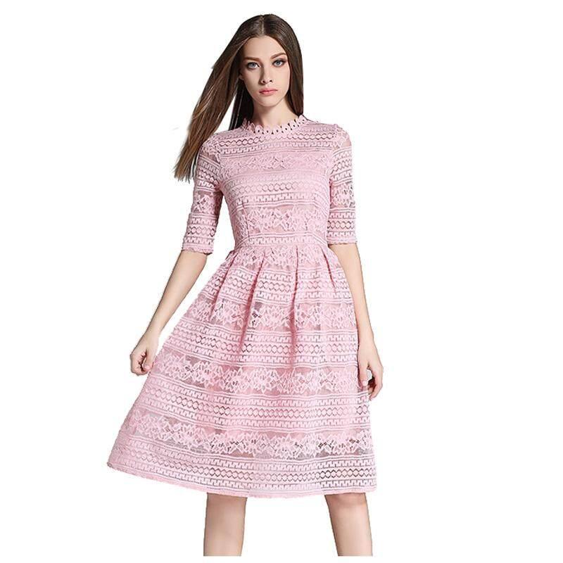 Wanita Musim Semi Musim Panas Elegan Lubang Luar Renda Panjang Gaun Kasual Modis Slim Seksi Gaun Pesta (Merah Muda, s/US-2 ~ 4)-Intl