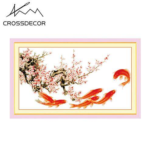 DIY Handmade Cotton Cross Stitch Set  Embroidery Kit Hot Sale 11CT 109×65cm Swimming fishes and blossom plums welcome spring Pattern Home Decoration