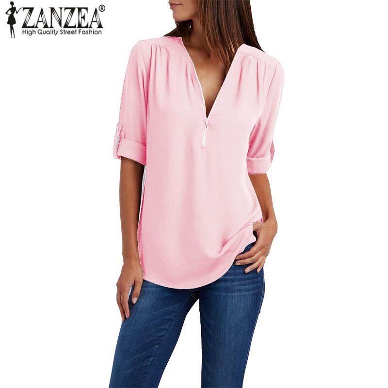 2421cc70c5c9 ZANZEA Women V Neck Pullover Top T Shirt Office OL Plus Size Tunic Blouse -  intl