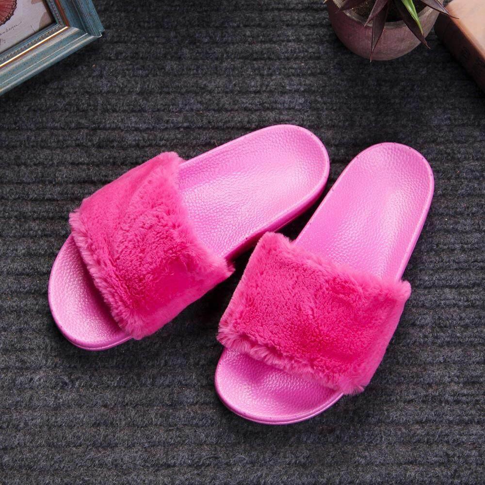 715949d95a88 Womens Ladies Slip On Sliders Fluffy Faux Fur Flat Slipper Flip Flop Sandal