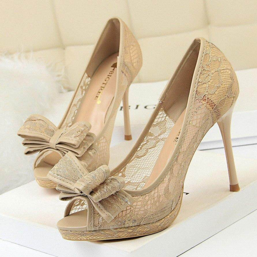 BIGTREE G1867-2 New Autumn High Shoes European Sexy Lace Bow Pumps High  Heels Shoes bf5bcb8412fa