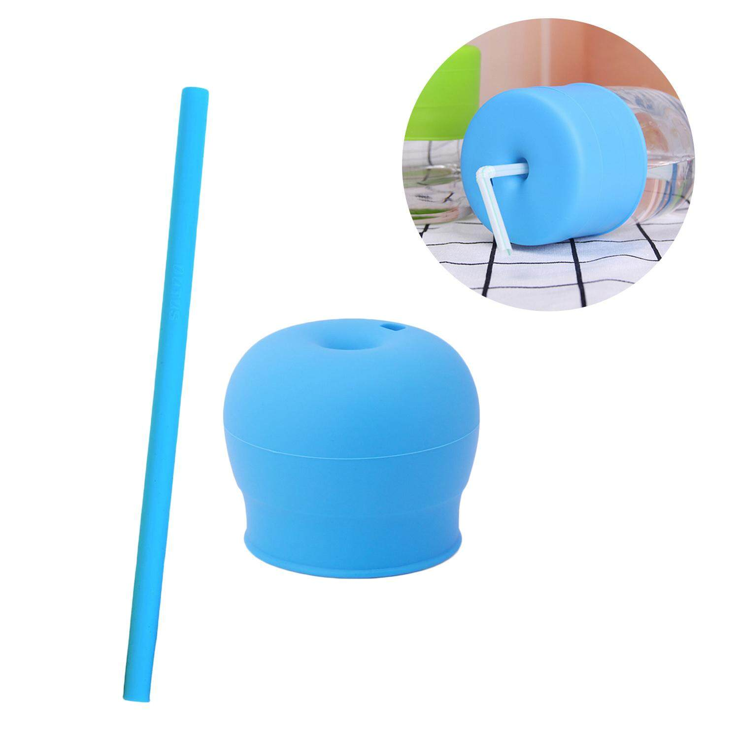 Reusable Universal Silicone Cup Lids Soft Spout Stretch Tops Cup Lids with Straw for Children Baby Kids Random Color