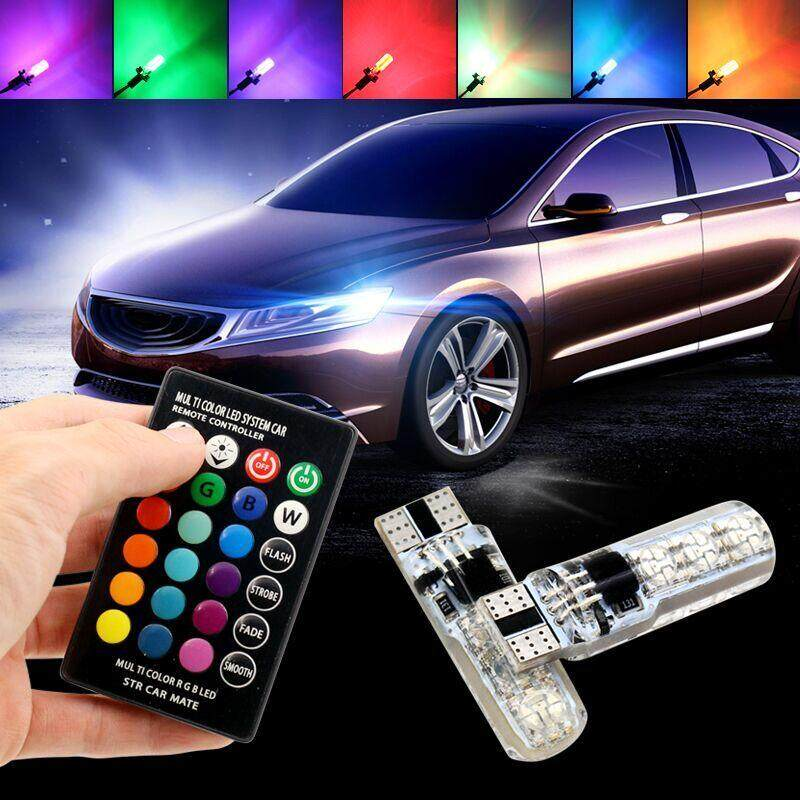 1Pair Multi Color T10 5050 SMD RGB Remote 6 LED Controller Reading Wedge Light Bulb